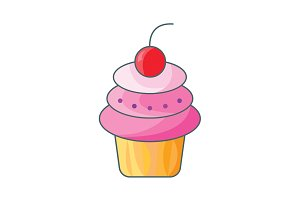 Cake with cherry. Cake icon