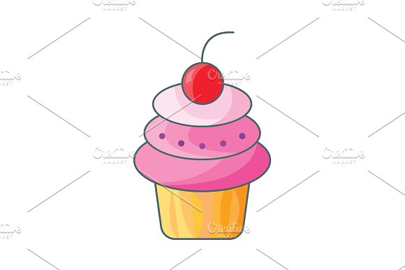 Cake With Cherry Cake Icon