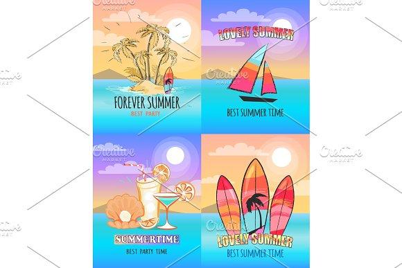 Forever Lovely Summer Set Of Vector Illustrations