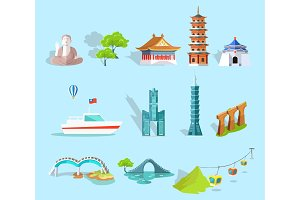 Concept of Taiwan Attractions Graphic Art Design