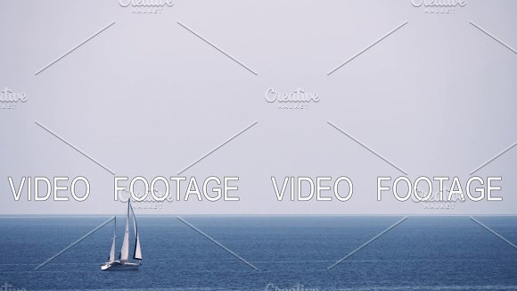 Scene With Sky Sea And Sailing Yacht