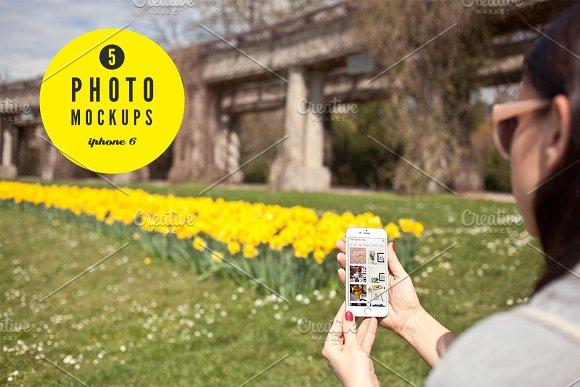 iPhone6 spring set - 5 photo mockups - Product Mockups