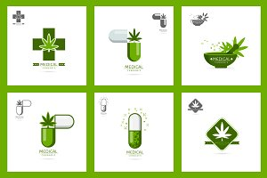 medical cannabis logo set vector