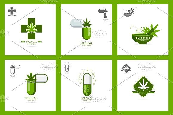 Medical Cannabis Logo Set Vector