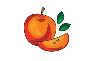Red Apple vector icon on a white