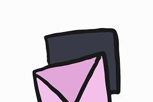 A romantic love letter illustration