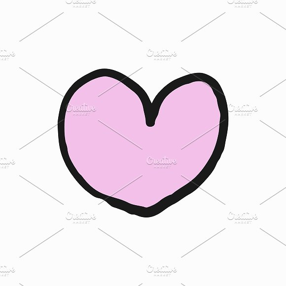 Hand Drawn Pink Heart Illustration