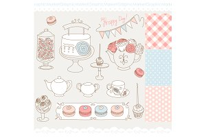 Hand Drawn Cake, tea party, macron