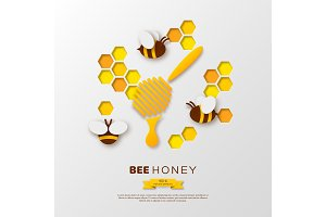 Bee with honeycombs and dipper, paper cut ctyle. Template design for beekiping and honey product. White background, vector illustration.