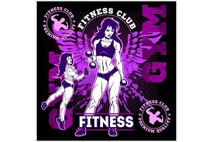 Girls with dumbbells monochrome on grunge background - beautiful fitness girls doing exercises with dumbbels