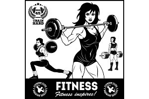 Girls with barbell - beautiful fitness girls doing exercises with barbell, vector set
