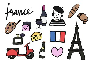 Symbols of France signs illustration