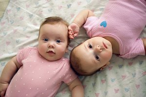 two sisters twins baby