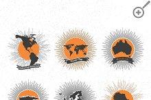 World maps badges set