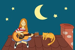 Playing Guitar on the Roof
