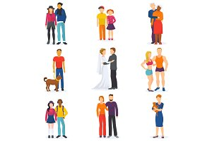Couple vector happy man and woman in love or young people together in relationship illustration set of coupled characters girl and boy embracing on date isolated on white background