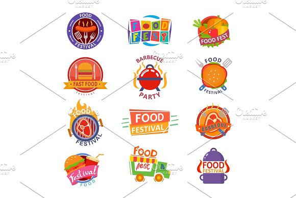 Food Festival Logo Vector Festive Street Fastfood Logotype For Restaurant Event In City Illustration Set Of Catering On Festivity Or Barbeque Party Isolated On White Background