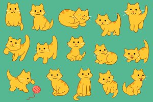 Kitten Pose Various Clip Art