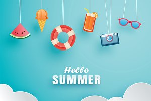 Hello summer with decoration origami