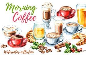 Morning coffee. Watercolor