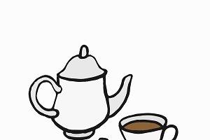 British-style tea illustration