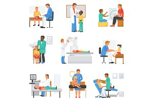 Doctor and patient vector medical character examining childrens health in professional clinic office illustration set of doctor-patient relationship with kids isolated on white background