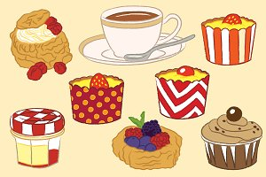 Classic Cake and Tea Illustration