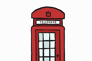 UK red telephone box illustration