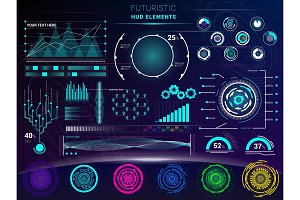 Interface vector interfaced spacepanel and hud dashboard futuristicwith interfacing hologram technology on digital bar interfacial screen on spaceship illustration set