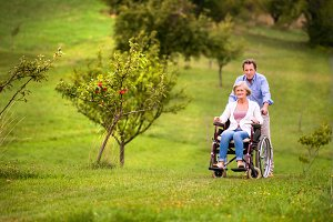 Senior man pushing woman in wheelchair, green autumn nature