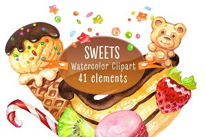 Sweets. Watercolor collection