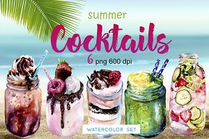 Watercolor clipart. Summer Cocktails