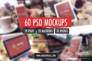 60 PSD Mockups iPhone, MacBook, iPad
