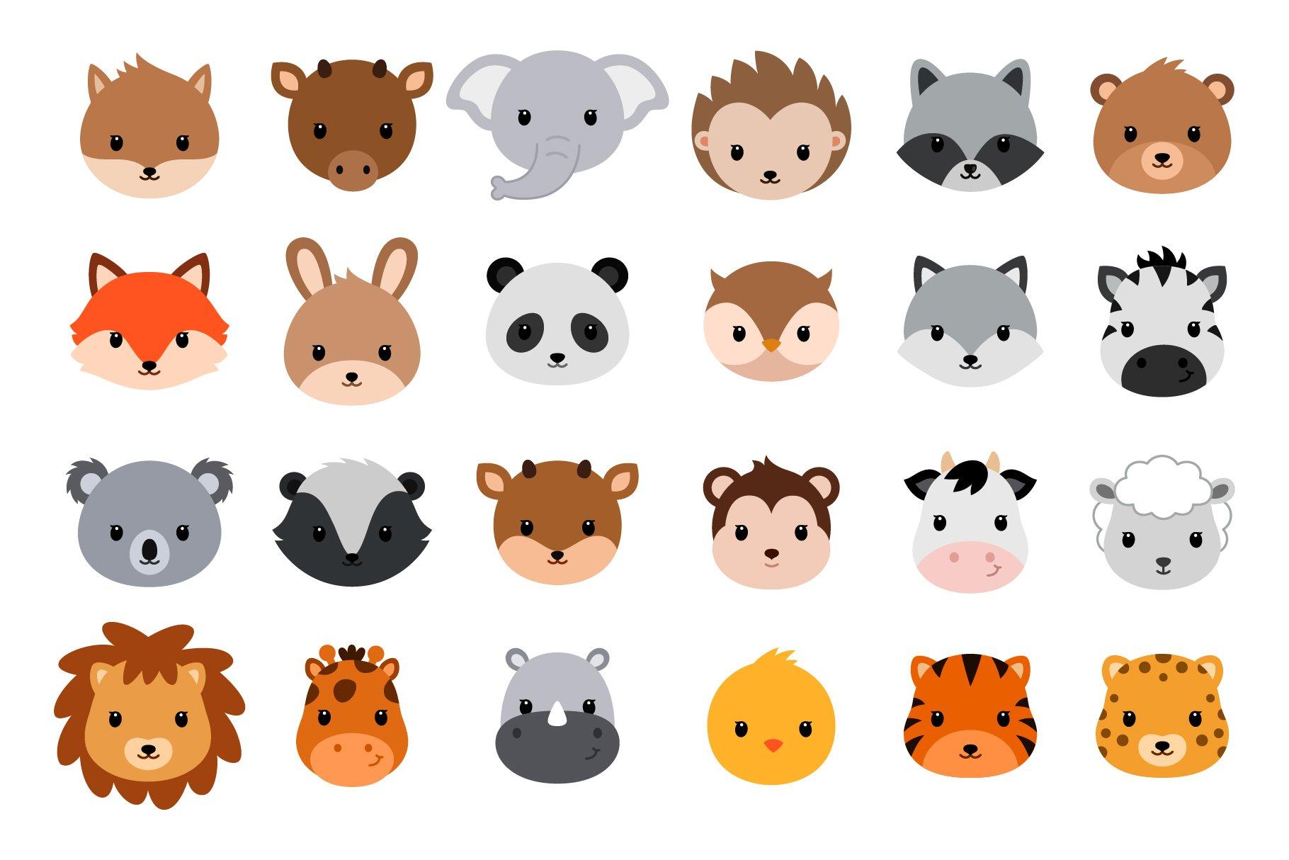 cute cartoon animals vector heads illustrations