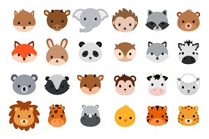 Cute cartoon animals. Vector heads.