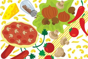 Italian Food Ingredients Vector Art