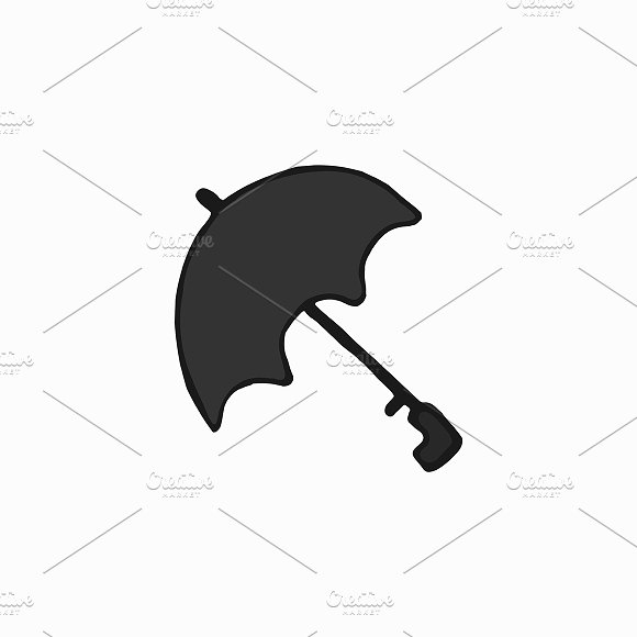 Black Umbrella London Illustration