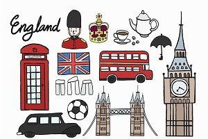 Illustration of British icons set