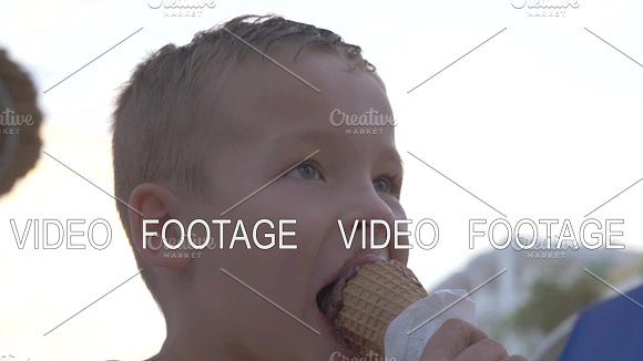 Child Eating Chocolate Ice Cream Outdoor