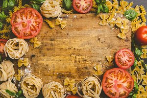 Pasta and fresh vegetables in flour