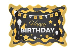 Happy Birthday Abstract illustration with paper cut shapes