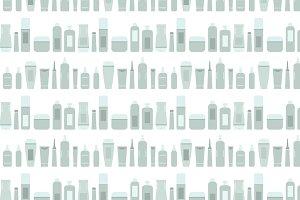 Gray beauty products bottles pattern