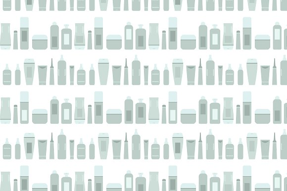 Gray Beauty Products Bottles Pattern