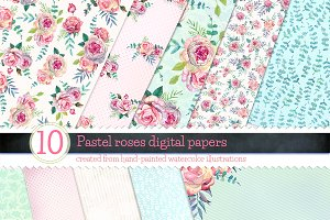 Pastel Roses digital papers