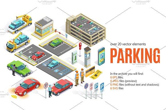 Isometric Parking Set