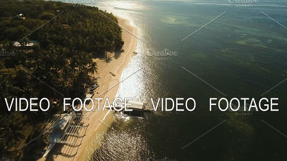 Aerial View Beautiful Beach On A Tropical Island Philippines Bohol