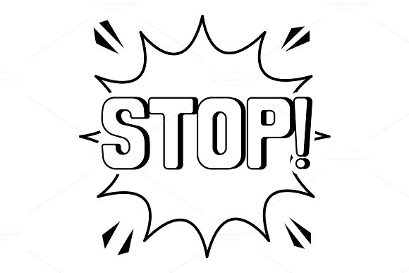 Stop Word Comic Book Coloring Vector Illustration