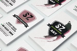 business card, pink brushwork