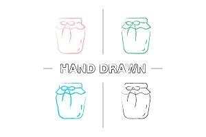 Strawberry jam jar hand drawn icons set