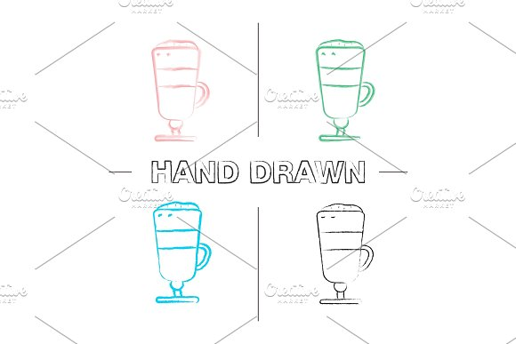 Latte Macchiato Hand Drawn Icons Set